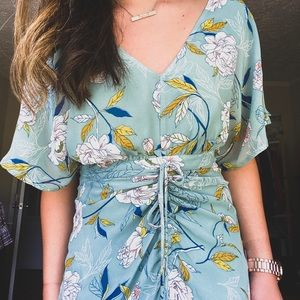 Turquoise Floral summer midi dress